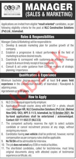 NLC Construction Solutions Islamabad Jobs 2021 for Managers