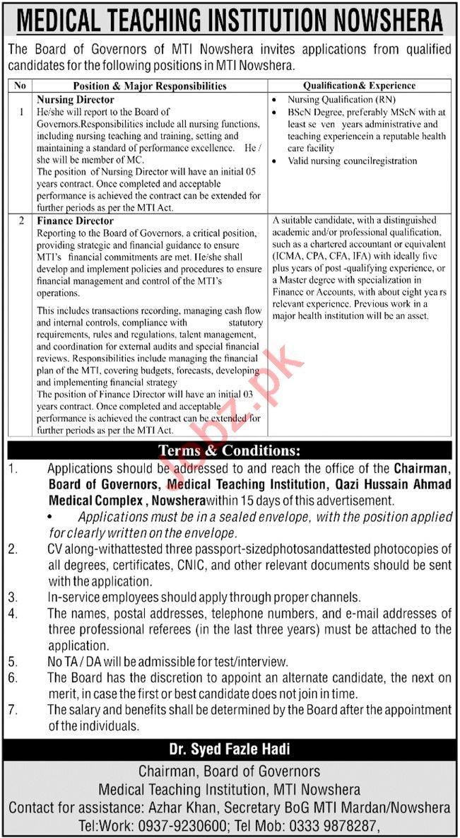 Qazi Hussain Ahmad Medical Complex QHAMC MTI Nowshera Jobs