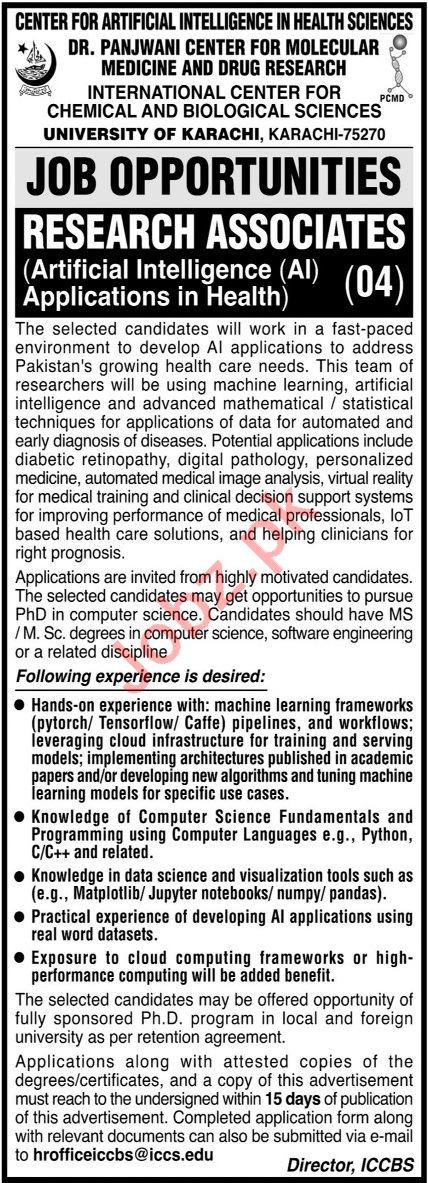 Dr Panjwani Center For Molecular Medicine ICCBS Karachi Jobs