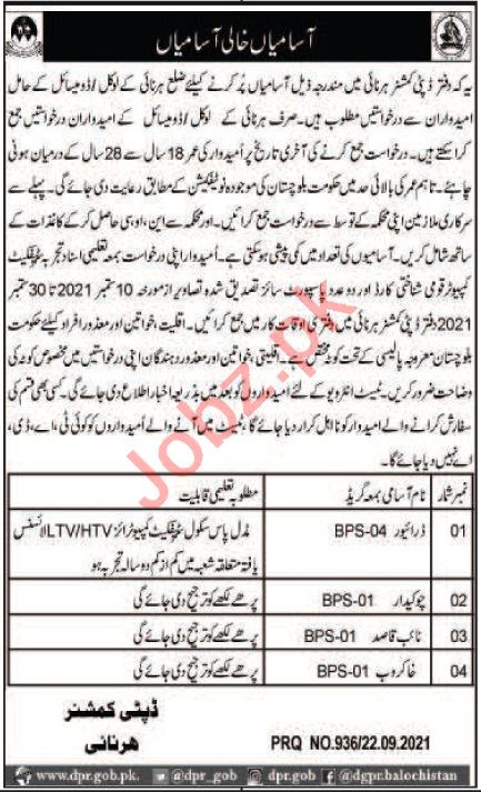 Deputy Commissioner DC Harnai Jobs 2021 for Drivers