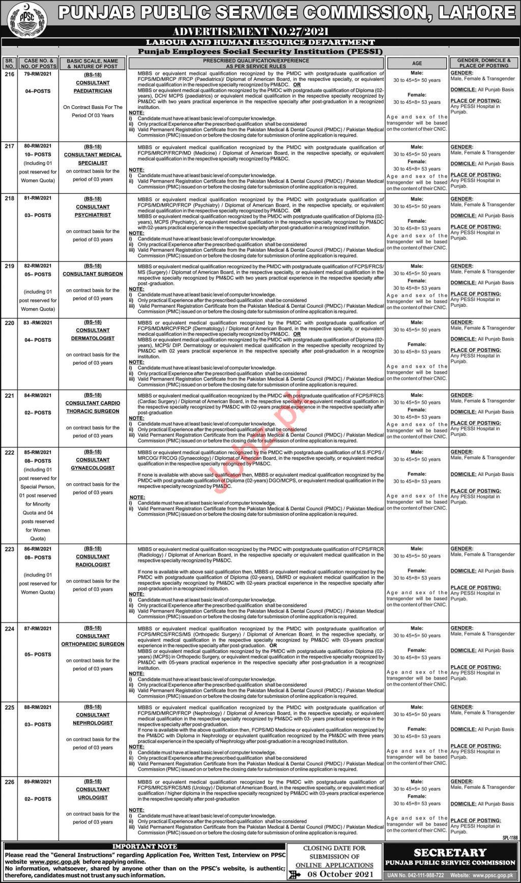 Punjab Public Service Commission PPSC Jobs 2021 Consultants
