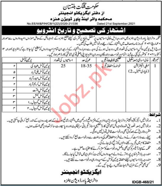 Water & Power Division Hunza Jobs Interview 2021
