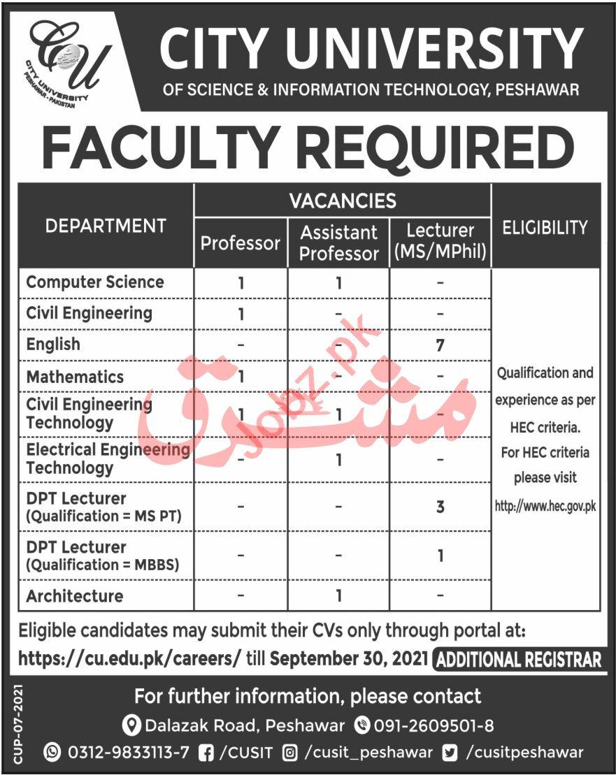 City University CUSIT Peshawar Jobs 2021 for Professors