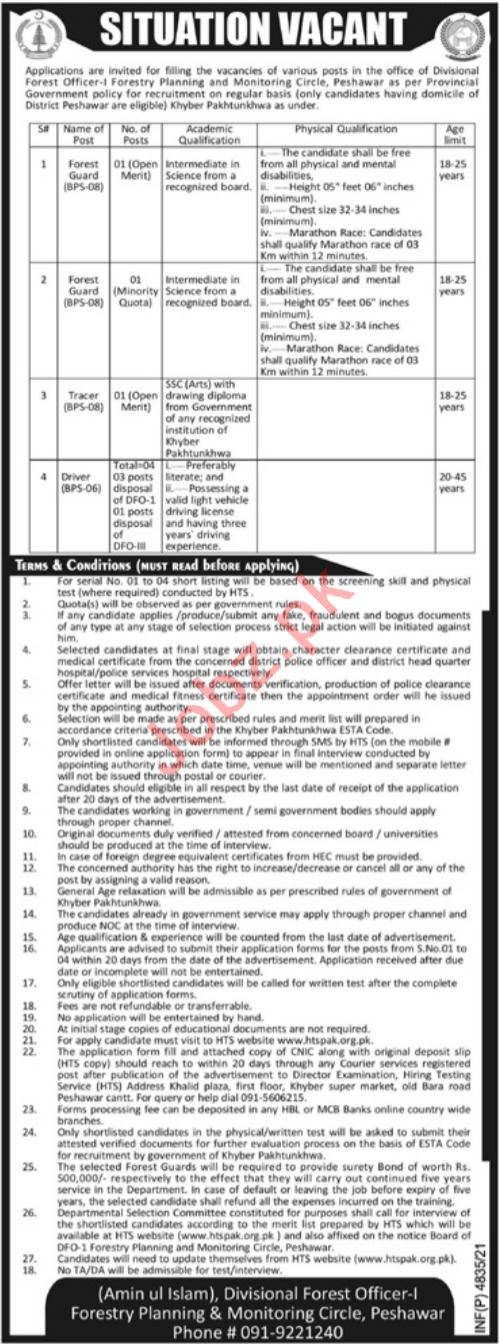 Forestry Planning & Monitoring Circle Peshawar Jobs 2021