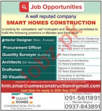 Smart Homes Construction Peshawar Jobs 2021