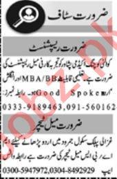 Receptionist & Teacher Jobs 2021 in Peshawar