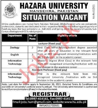 Hazara University HU Mansehra Jobs 2021 for Professors