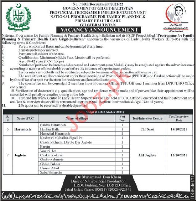 National Program for Family Planning Gilgit Jobs 2021