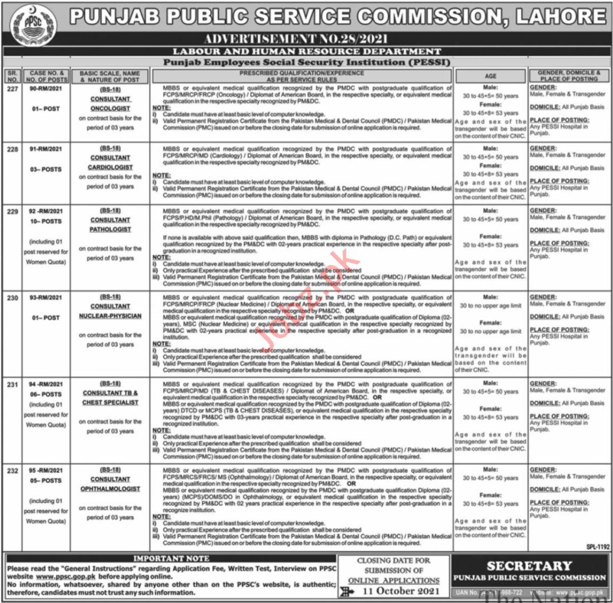 Punjab Employees Social Security Institution PESSI Jobs 2021