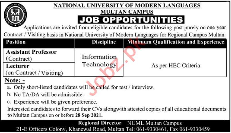National University of Modern Languages NUML Multan Jobs