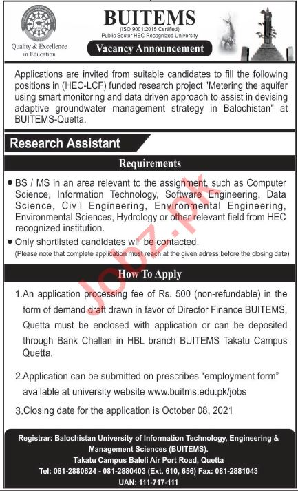 BUITEMS University Quetta Jobs 2021 for Research Assistant