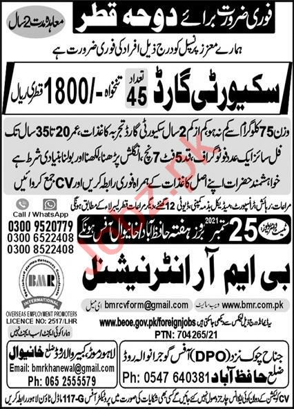 Security Guards Jobs Open in Qatar 2021