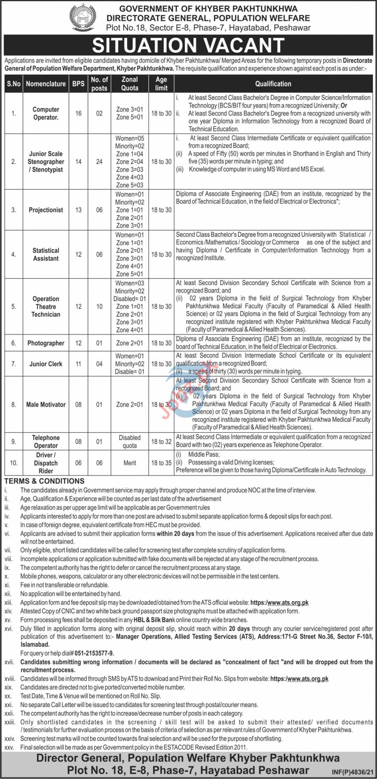 Directorate General Population Welfare Peshawar Jobs 2021