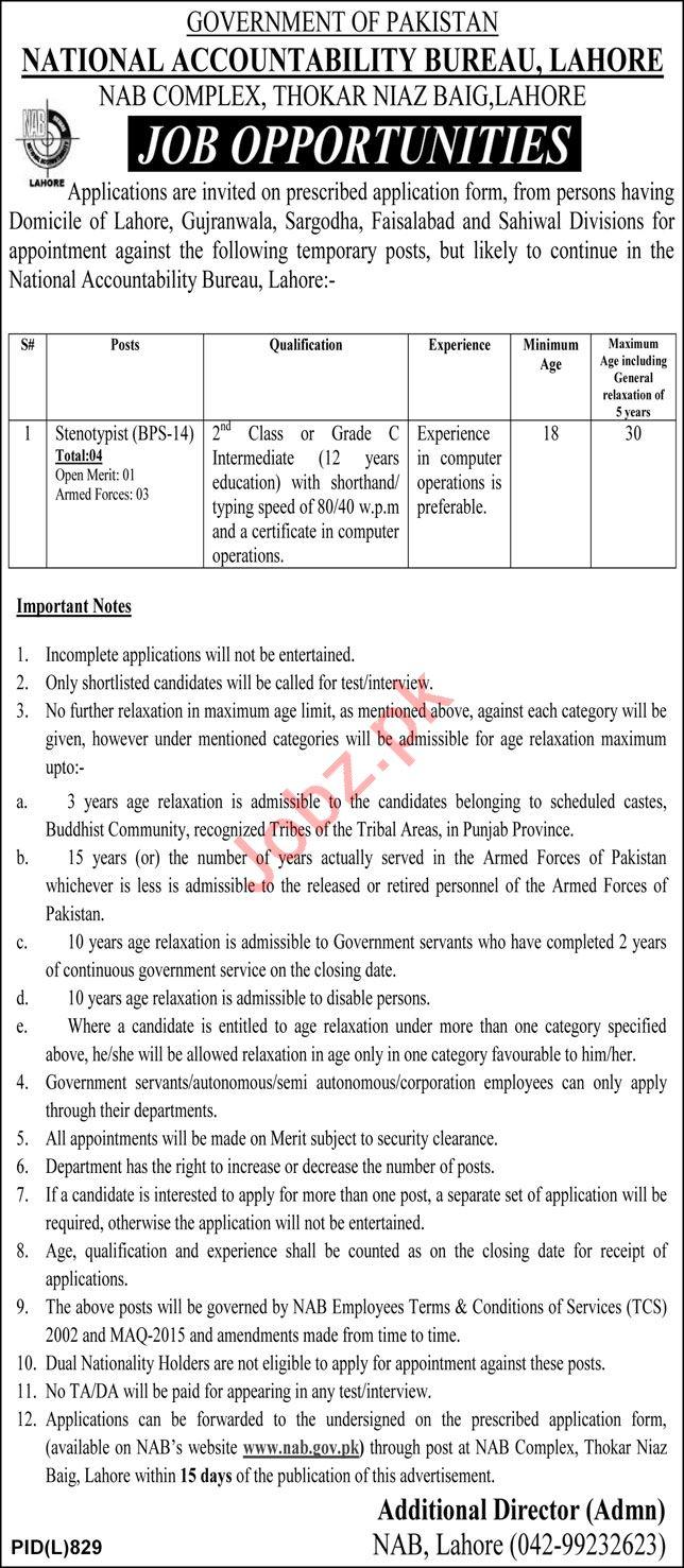 National Accountability Bureau NAB Lahore Jobs 2021