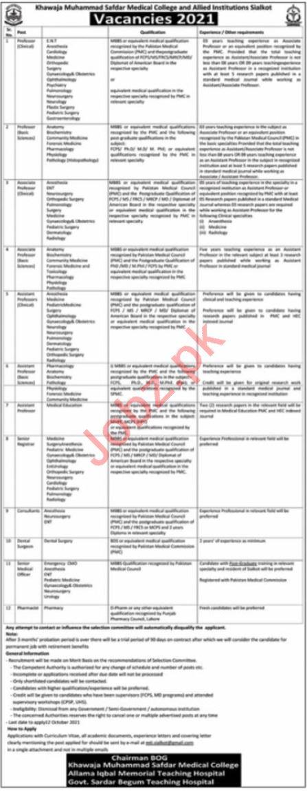 Khawaja Muhammad Safdar Medical College KMSMC Jobs 2021
