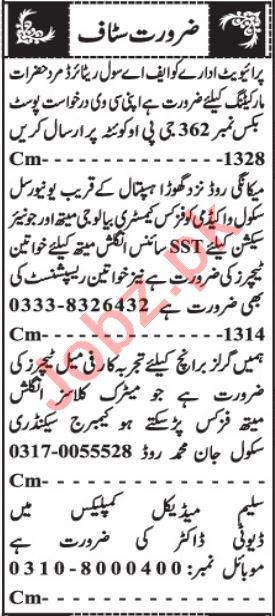 Lady Doctor & Teacher Jobs 2021 in Quetta