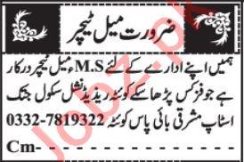 Subject Teacher & Female Teacher Jobs 2021 in Quetta