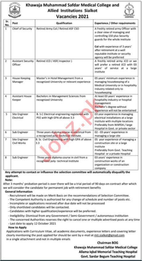 Khawaja Muhammad Safdar Medical College Jobs 2021