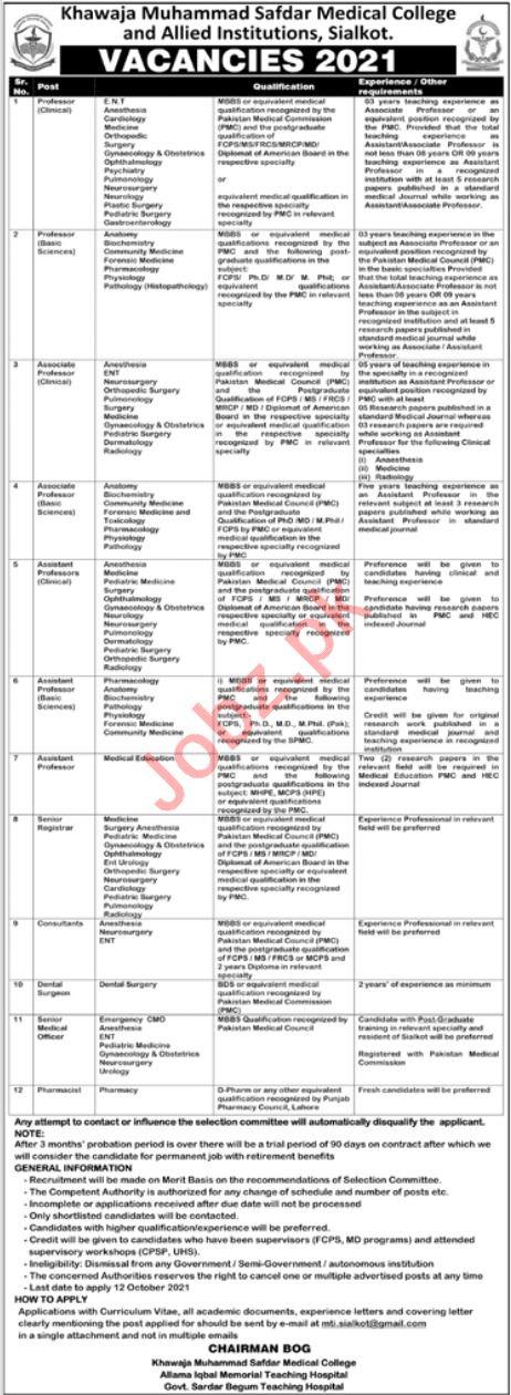 KM Safdar Medical College Medical & Faculty Staff Jobs 2021