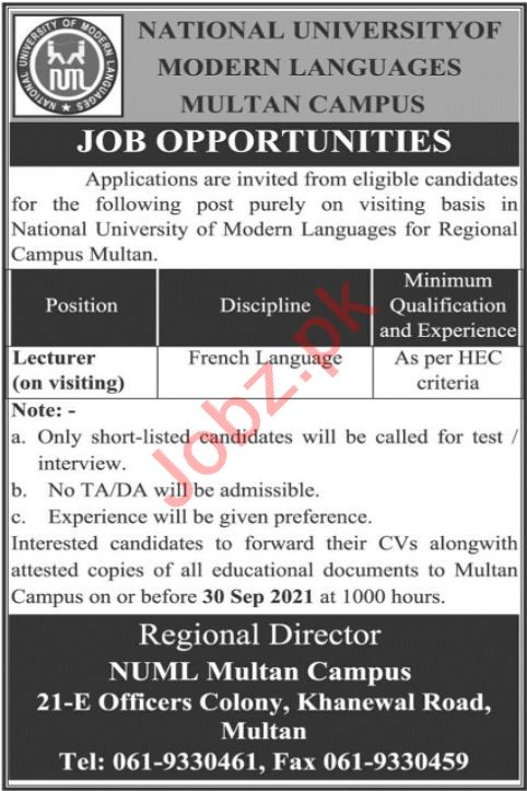 Lecturer Jobs in National University of Modern Language