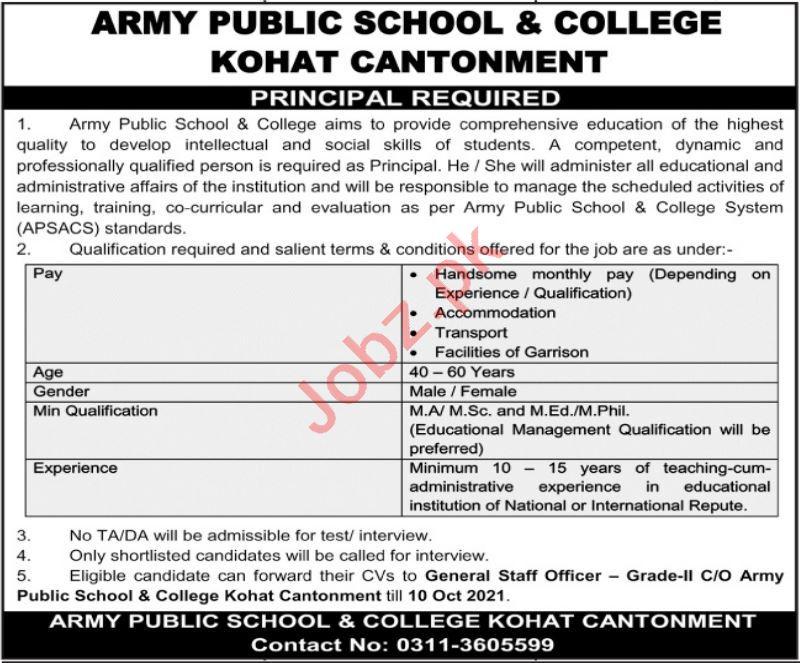 Army Public School & College Kohat Principal Jobs 2021
