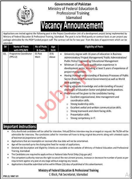 Ministry of Federal Education Program Coordinator Jobs 2021