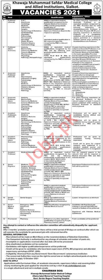 Medical & Faculty Staff Jobs in KM Safdar Medical College