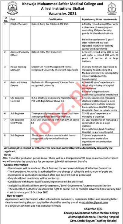 Management Jobs in Khawaja Muhammad Safdar Medical College