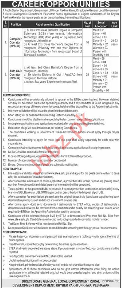 Public Sector Organization Peshawar Jobs 2021 via ETEA