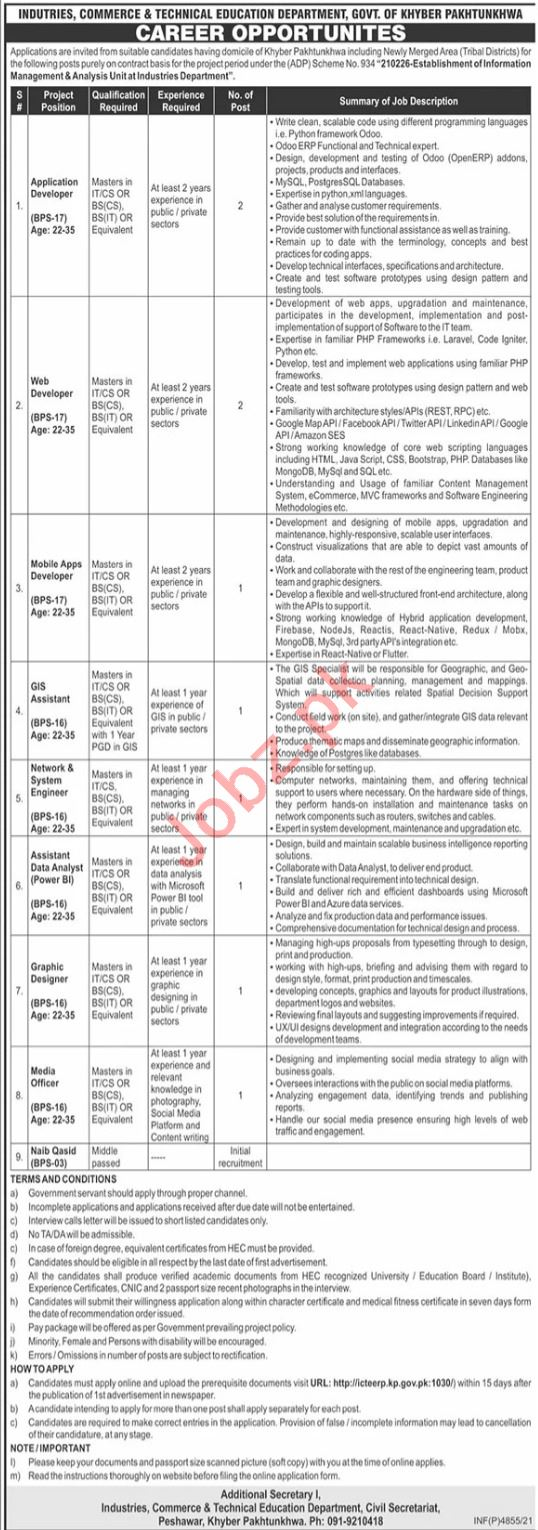 Industries Commerce & Technical Education Department Jobs