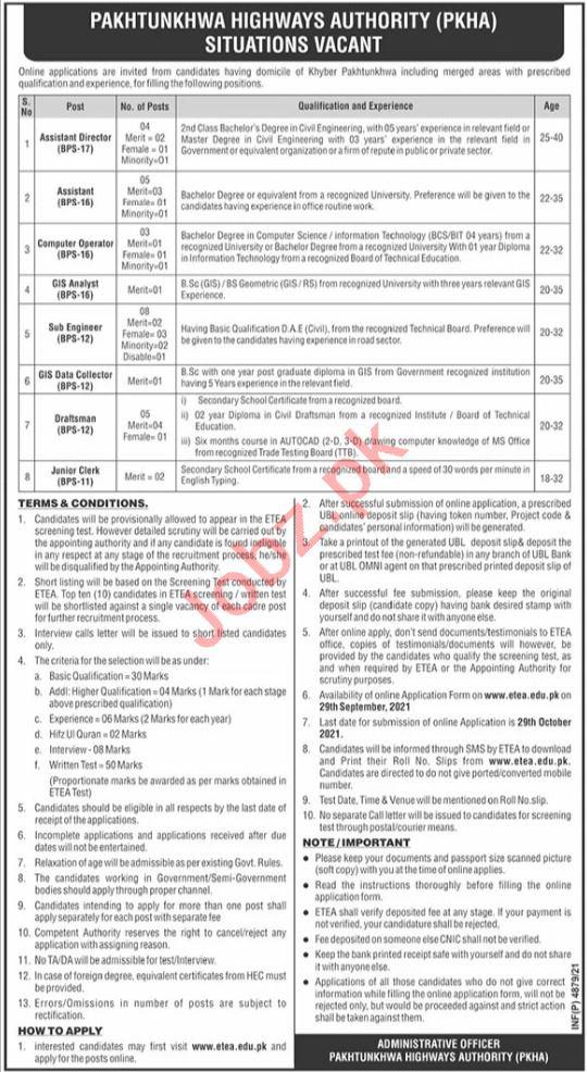 Pakhtunkhwa Highways Authority PKHA Jobs 2021 via ETEA