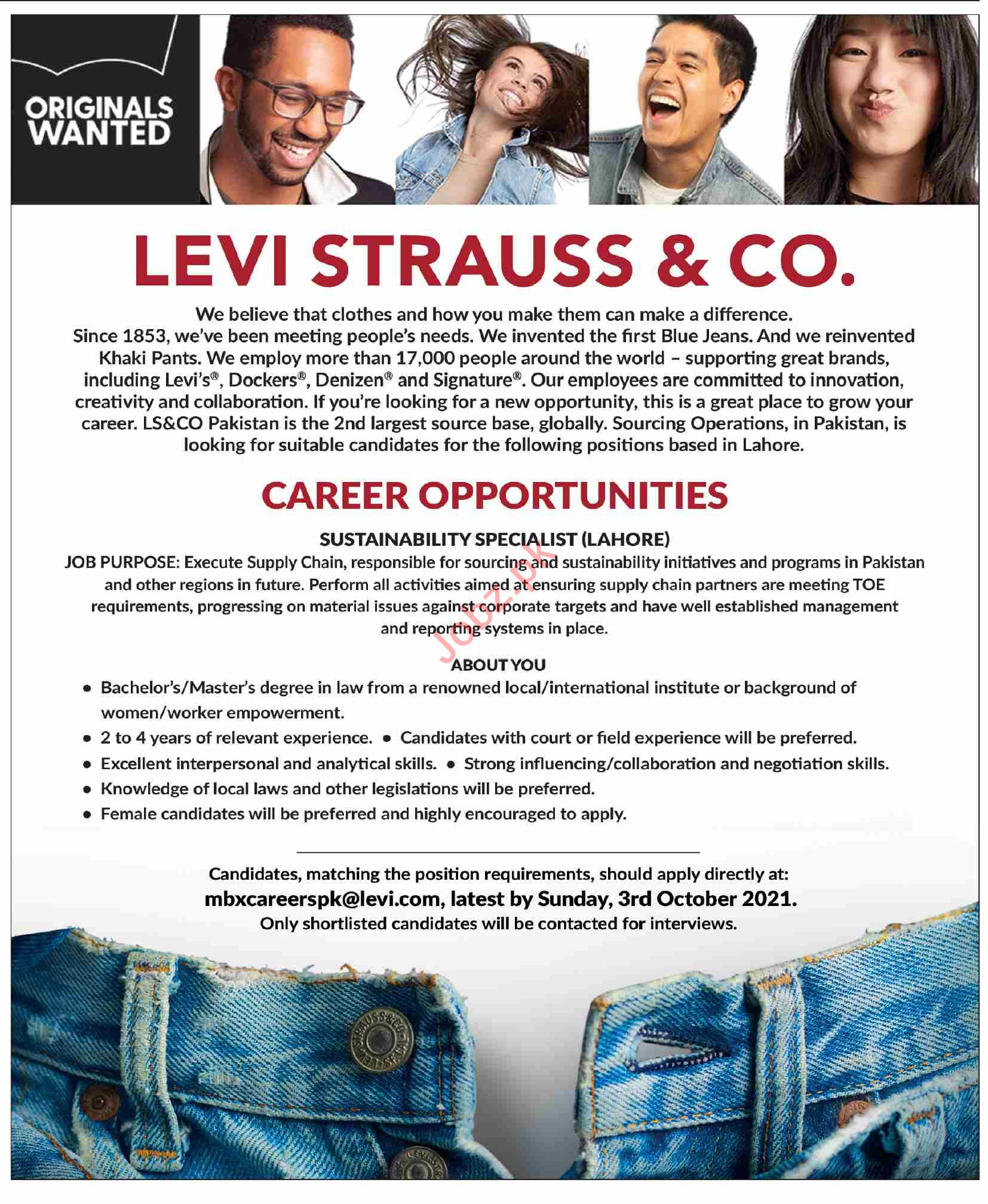 Levi Strauss and CO Jobs 2021 in Lahore