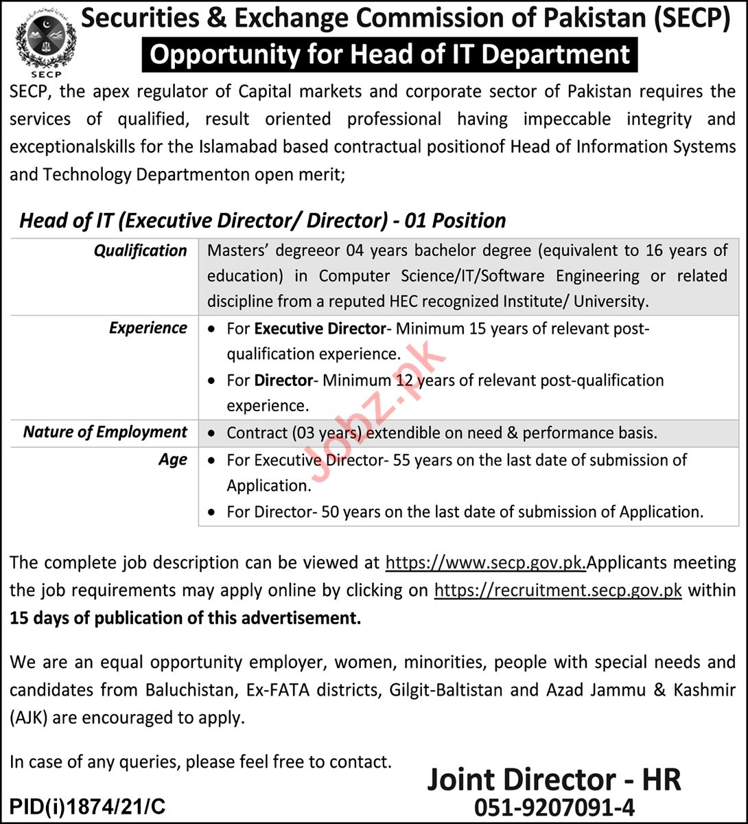 Securitues & Exchange Commission of Pakistan Jobs 2021