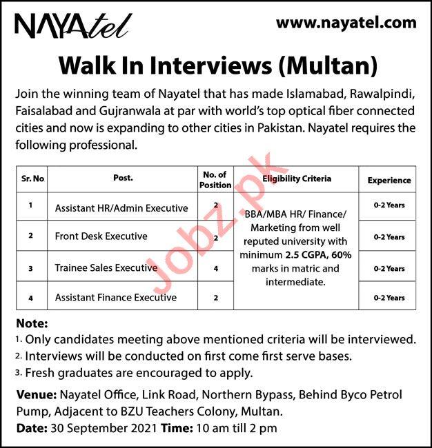 Nayatel Pvt Limited Walk In Interviews In Multan