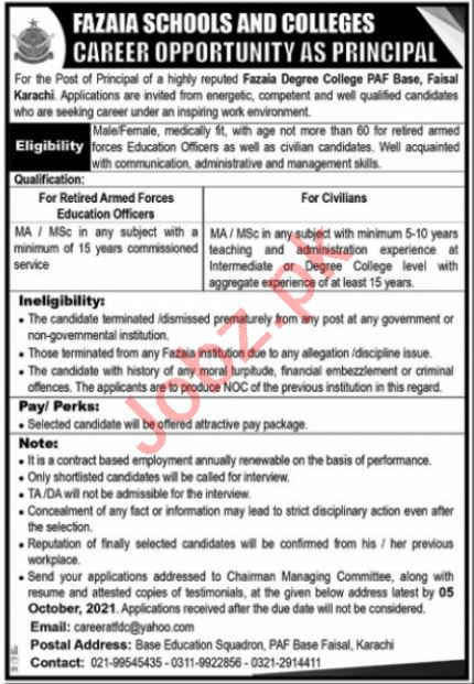 Fazaia School and Colleges Jobs 2021 in Karachi