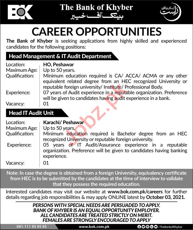 The Bank of Khyber BOK Jobs 2021 In Karachi & Peshawar