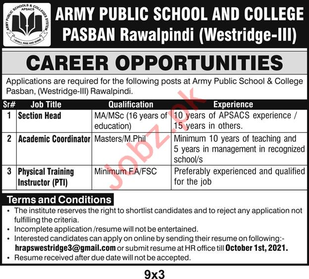 Army Public School & College Jobs 2021 In Rawalpindi