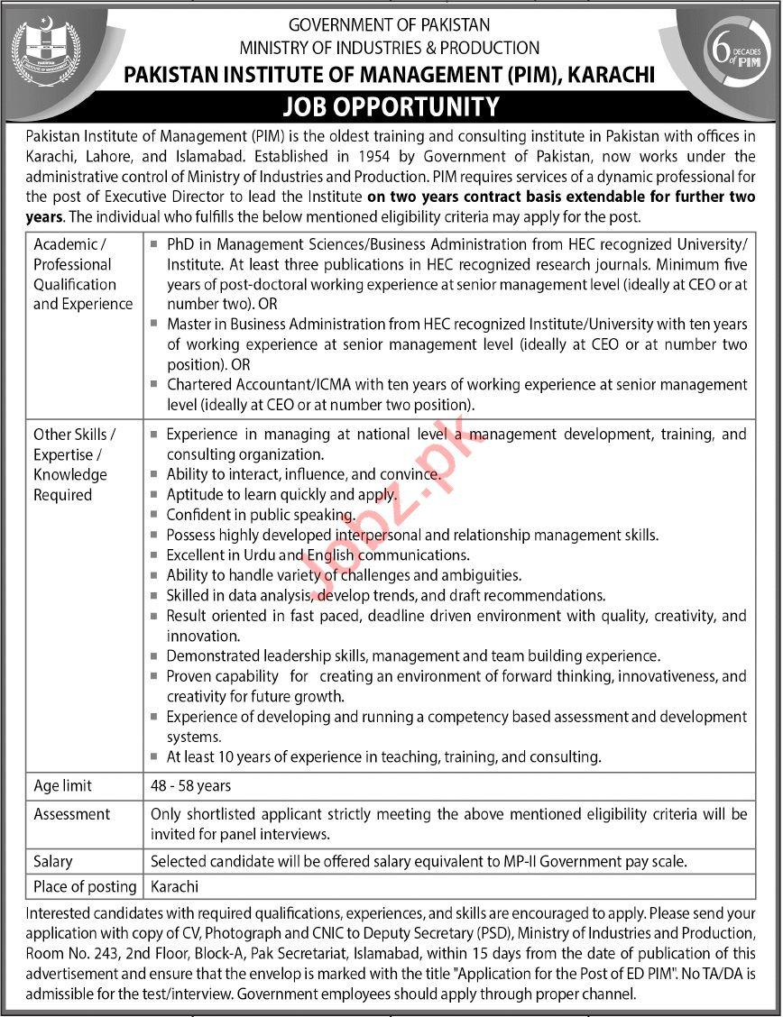 Pakistan Institute of Management PIM Karachi Jobs 2021
