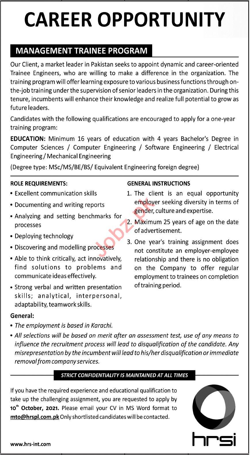 HRSI Jobs 2021 for Management Trainee Program
