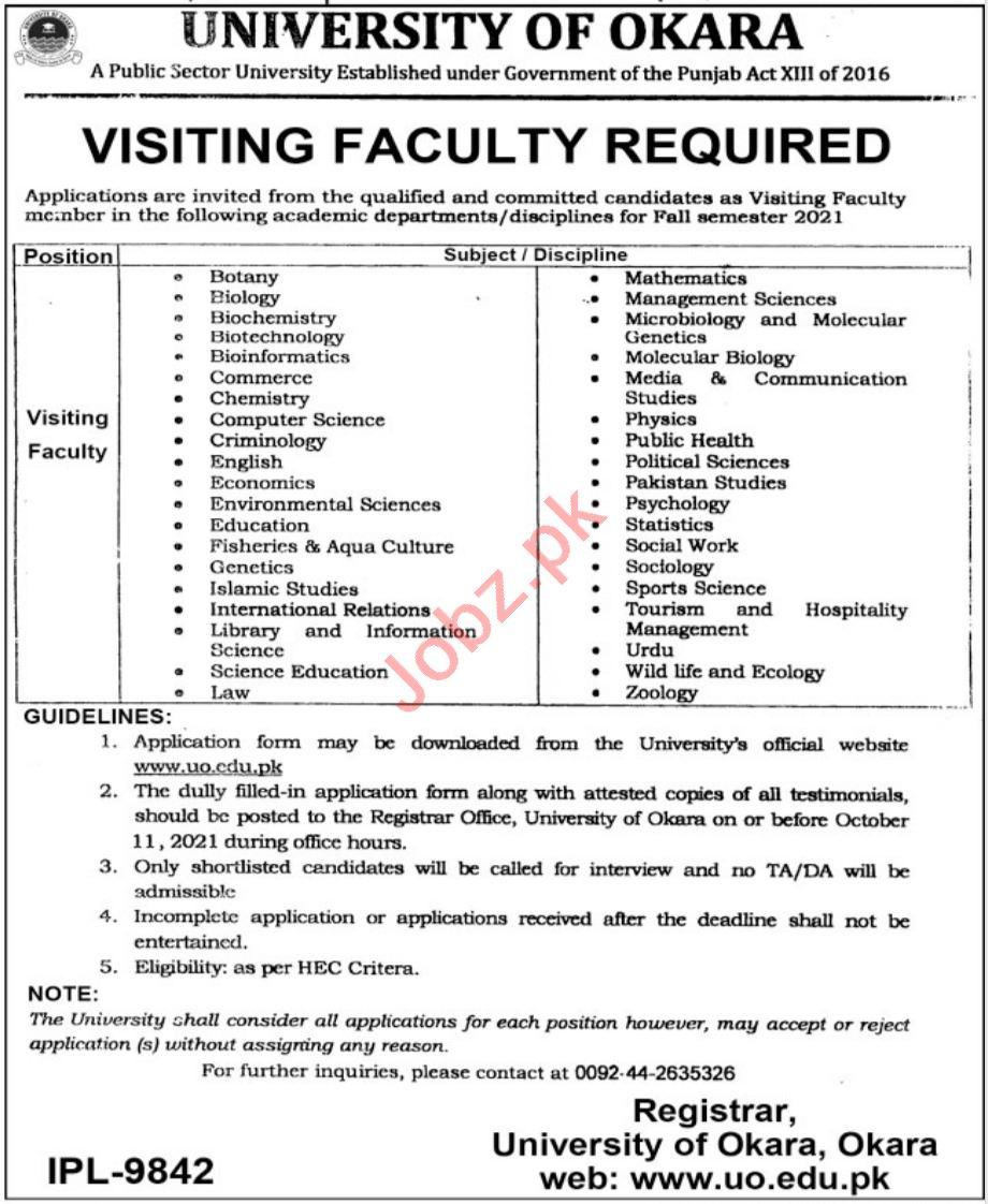 University of Okara UO Jobs 2021