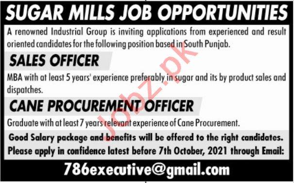 Sugar Mill Jobs 2021 in Multan