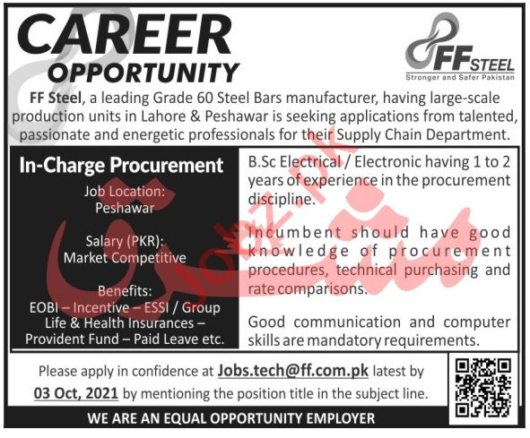 FF Steel Manufacturing Industry Job 2021 In Peshawar KPK