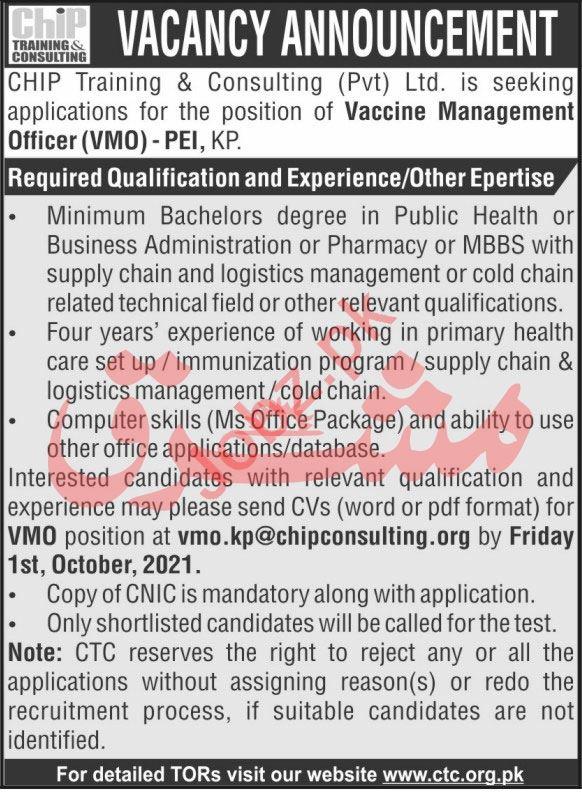 CHIP Training & Consulting Pvt Ltd Job 2021 In Peshawar KPK