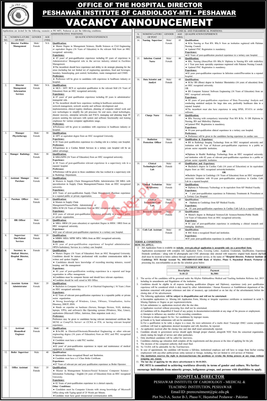 Peshawar Institute of Cardiology MTI Jobs 2021 In Peshawar