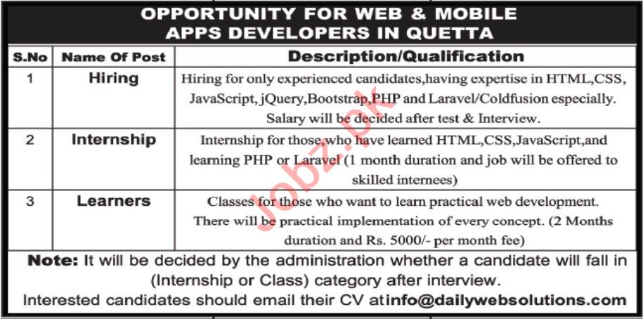 Web and Mobile Apps Developers Jobs 2021 in Quetta