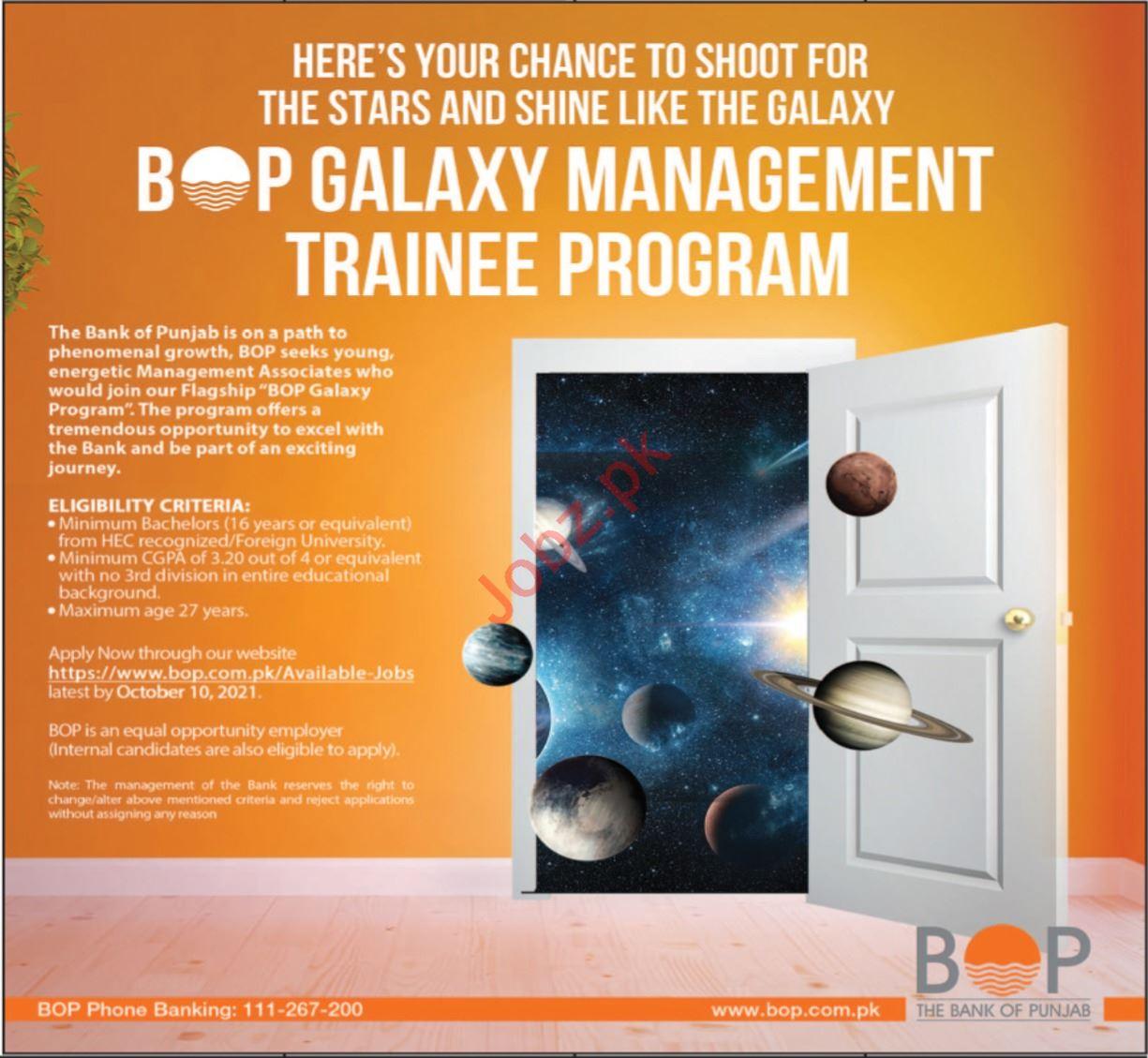 The Bank of Punjab BOP Jobs 2021 for MT Program