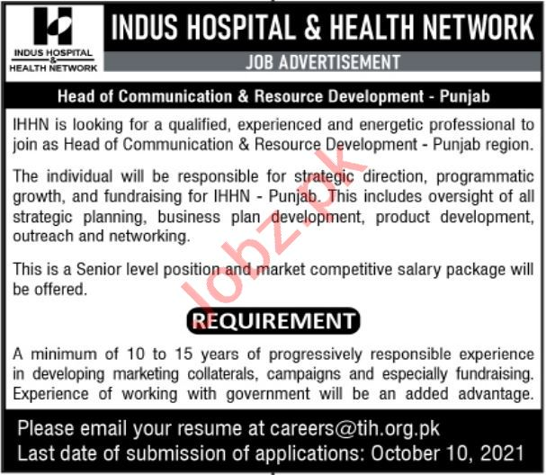 Indus Hospital and Health Network Jobs 2021