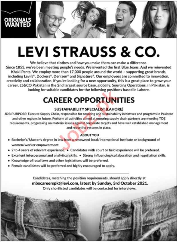 Sustainability Specialist Job 2021 In Lahore