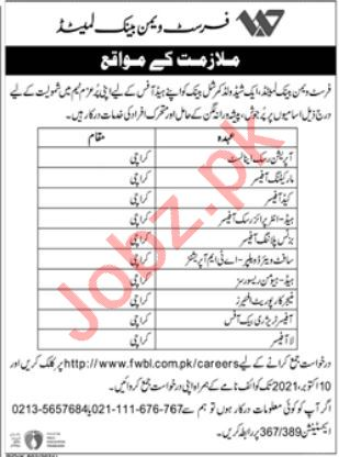 First Women Bank Limited Job 2021 In Karachi