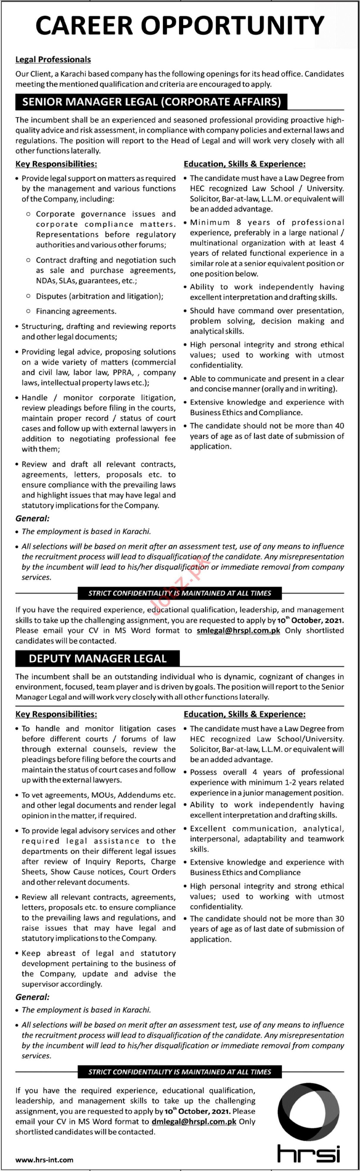 HRSI Jobs 2021 for Management Staff
